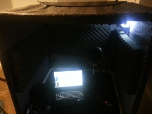 Admittedly a bit hard to see, but the structure housed my mic, computer, and scripts for recording.